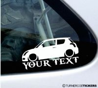 2x Lowered Suzuki Swift Sport (2004–2010) CUSTOM TEXT car silhouette stickers